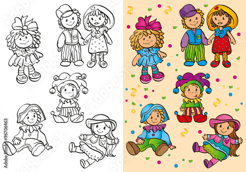Canvas Print Coloring Book Of Different Cute Dolls