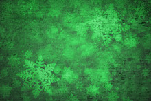 Magical Grunge Green Colored Shiny Abstract Blurry Textured Snowflake Shapes Illustration Background. Dreamy Winter Snowfall Copy Space Greeting Card Background.