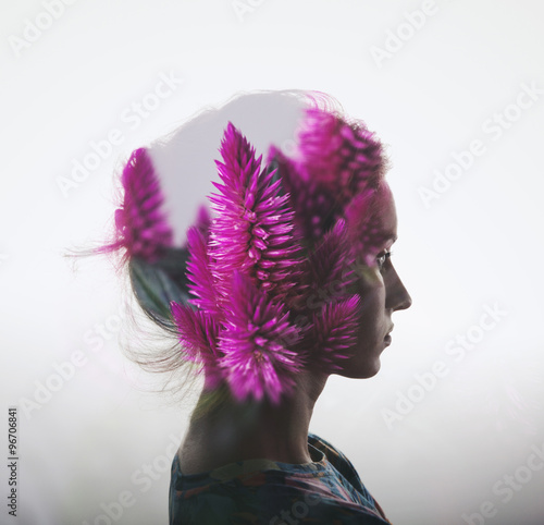 Fotografija  Creative double exposure with portrait of young girl and flowers