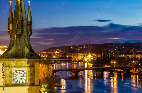 View to the night small district in big city Prague, Czech Republic Wallpaper Mural