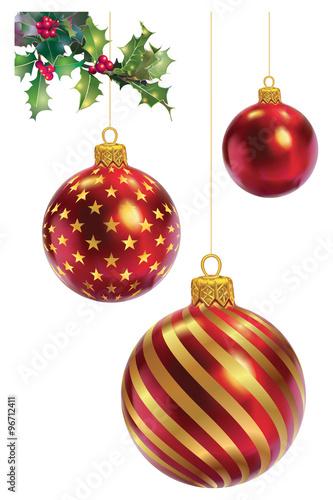 Trois boules de Noël rouge et or   Buy this stock vector and