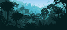 Vector Horizontal Tropical Rainforest Jungle Background