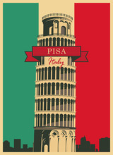 Leaning Tower Of Pisa In The Background Of The Italian Flag