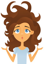 Woman Having A Bad Hair Day