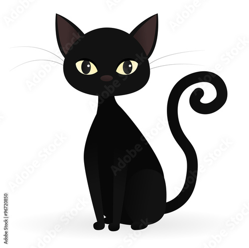 Sitting black cat