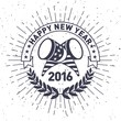 Hipster New Year 2016, Badge and Trumpet, Distressed Vector