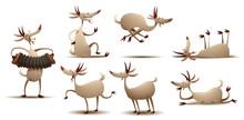 Vector Funny Goats Set. Cartoo...