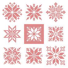 Cross Stitch Snowflakes Pattern, Scandinavian