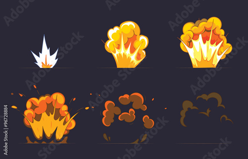 Obraz Cartoon explosion effect with smoke. Vector animation frames for game - fototapety do salonu