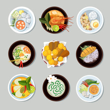 Thai Food Vector Icons Set