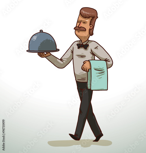 Vector сartoon Image Of A Brown Haired Moustached Waiter In Black