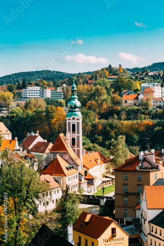 Photo  Cityscape of Cesky Krumlov, Czech republic. Sunny autumn day