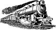 Vintage drawing locomotive engine