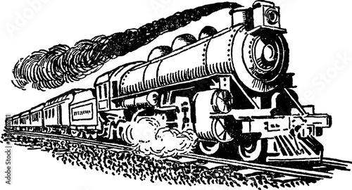 Fotografía  Vintage drawing locomotive engine