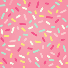 Seamless Background With Pink Donut Glaze And Many Decorative Sprinkles