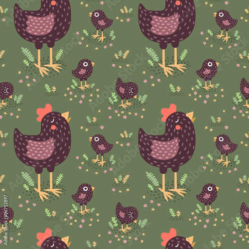 Fotografía  Cute black hens with baby chickens vector seamless pattern