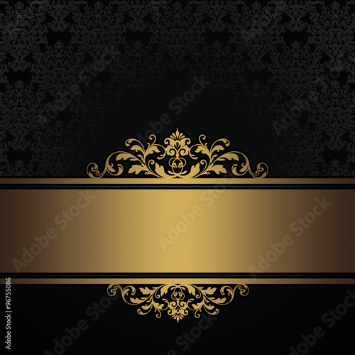 Poster Retro Black vintage background with gold border.