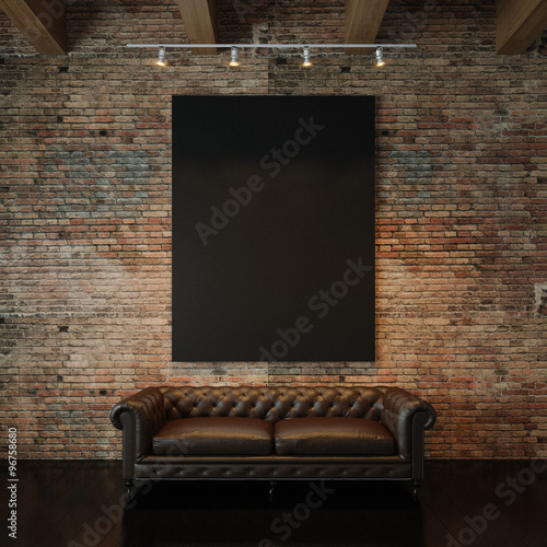 Fotografia, Obraz Photo of black empty canvas on the natural brick wall background and vintage classic sofa