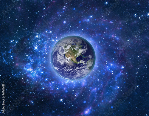 Spoed Foto op Canvas Heelal Planet Earth in outer space. Imaginary view of blue glowing earth orbit in a star field. Abstract cosmos in dark galaxy scientific astronomy background. Elements of this image furnished by NASA.