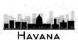 Havana City skyline black and white silhouette. Some elements have transparency mode different from normal