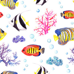 Fototapeta Marynistyczny Exotic fishes, sea corals and water baubles. Repeating pattern. Watercolor