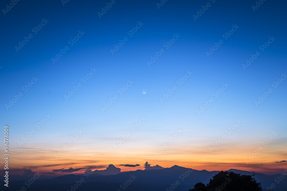 Fototapety, obrazy: twilight sky with the crescent moon in winter at the north of Thailand