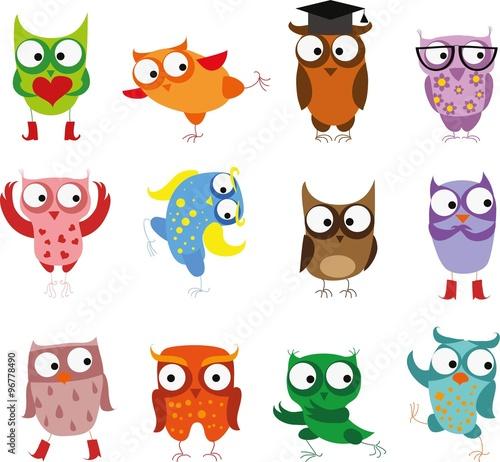 Photo Stands Owls cartoon Cute birds owls in vector. Cartoon set
