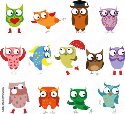Photo Stands Owls cartoon Set of vector cartoon birds owls