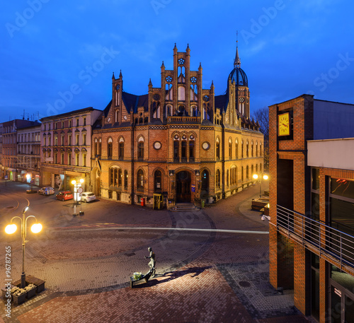 Chorzow in Poland. Historic post office edifice in the evening.