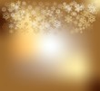 Gold background with snow flakes