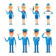 Set characters stewardess and pilot