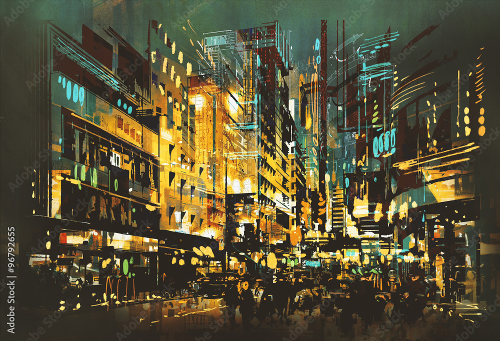 night scene cityscape,abstract art painting