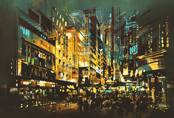 Fototapeta Abstrakcja night scene cityscape,abstract art painting