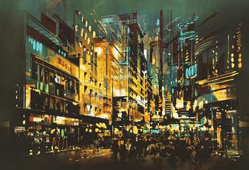 Fototapetanight scene cityscape,abstract art painting