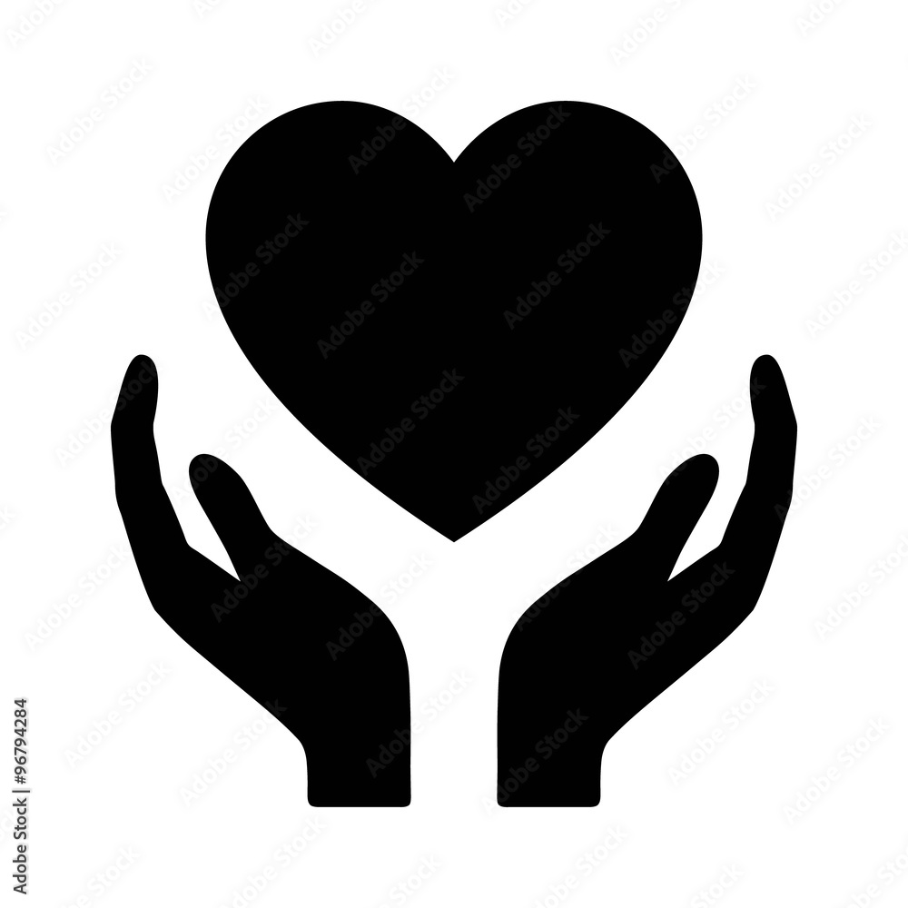 Fototapeta Healthcare hands holding heart flat icon for apps and website