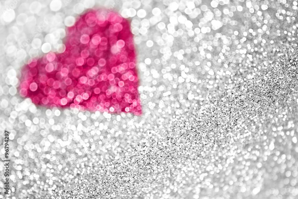 f68976377 Photo & Art Print Silver Glitter Pink Sparkle Heart Background ...