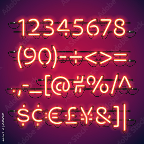 Glowing Neon Bar Numbers
