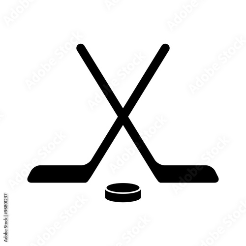 Cuadros en Lienzo  Hockey stick with puck flat icon for apps and websites