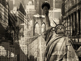 Kolaż zawierający kilka zabytków Nowego Jorku - 96801693