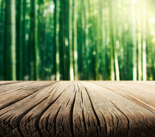 Empty Wooden Table And Bamboo ...