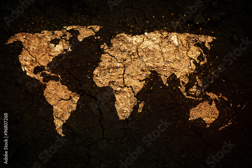 Photo  world map on grunge background
