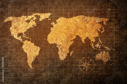 world map on grunge background Canvas Print