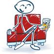 Strichmännchen mit Drink im Sessel