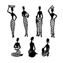 Silhouette Figures Of Beautiful African Women With Children And Kitchenware Set Of Hand-drawn Vector Illustration