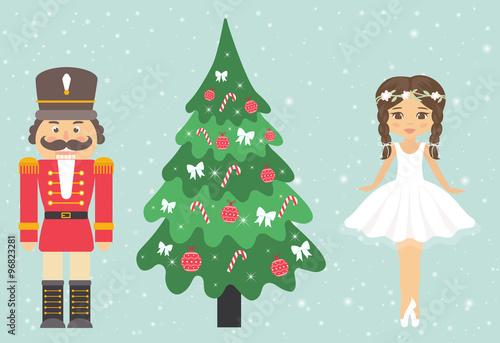 Fotografía  girl ballerina and nutcracker and fir-tree