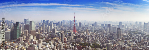 Photo  Skyline of Tokyo, Japan with the Tokyo Tower, from above