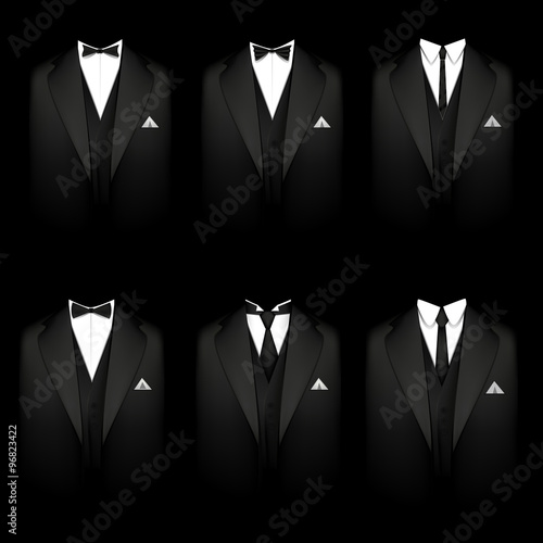 Fototapeta Six black tuxedos