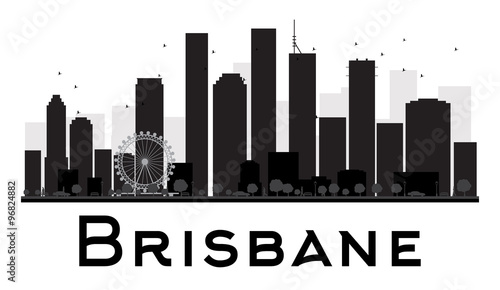 Brisbane City skyline black and white silhouette. Some elements have transparency mode different from normal
