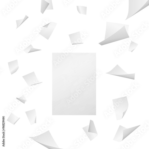 White blank sheets of paper with bent corners flying away