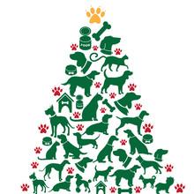 Furry Christmas Tree Greeting Card Design. EPS 10 Vector
